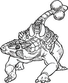 Ankylosaurus line art for color