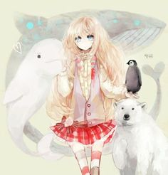 anime, girl, and penguin image