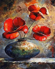 Red poppies by Emerico Toth