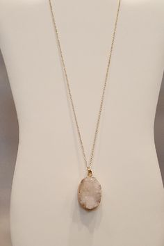 """White Druzy necklace is stunning!  I love the white druzy because it really pops with the gold chain.  Perfect item to wear so many ways. This necklace is long so it looks great with tunics and dresses!  https://www.shoppinwithsailin.com/collections/sale/products/oval-white-druzy-stone-on-28-gold-chain-necklace?utm_content=buffer65f5e&utm_medium=social&utm_source=pinterest.com&utm_campaign=buffer  28"""" Gold Chain What is Druzy: Druzy is the glittering effect of tiny crystals over top a…"""