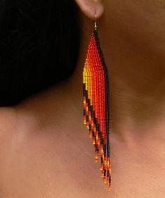 Items similar to Shoulder Duster Earrings. on Etsy Shoulder Duster Earrings. Beaded Earrings Native, Beaded Earrings Patterns, Bracelet Patterns, Beading Patterns, Earrings Handmade, Handmade Jewelry, Beading Tutorials, Seed Bead Jewelry, Bead Jewellery