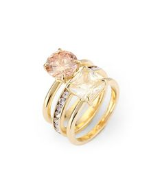 Look at this #zulilyfind! Nude & Gold Round & Square Pave Stacking Ring Set #zulilyfinds
