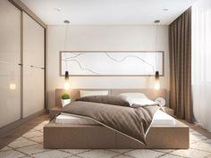 cuadro grande en el dormitorio al estilo minimalista
