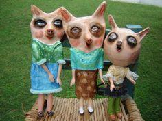 Folk Art Pig Woman art doll pig ornament