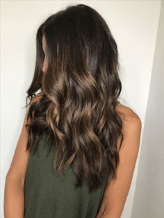 Brown balayage. Rich brunette. Painted hair. Caramel hilights.