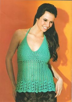 Crochetemoda: Crochet - Top Verde