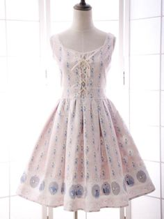 ロリィタジャンパースカート ピンク フリル スウィート 合成繊維 パーティー プリント柄