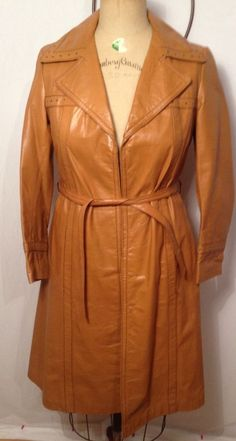 Wilsons House of Suede and leather Tan Trench Coat Hippie Boho Style Size 10 #Trench