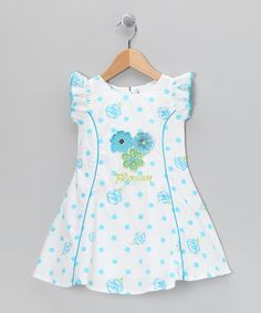 Take a look at this White & Blue 'Flower' Polka Dot Dress - Toddler & Girls by Sam de Fleur on #zulily today!