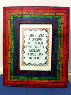 Subversive cross-stitch.  So cool, and yet, all I can think is, I could TOTALLY do some great cross-stitch patterns.