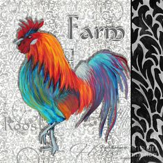 Decorative Rooster Chicken Decorative Art Original Painting King Of The Roost By Megan Duncanson Painting  - Decorative Rooster Chicken Deco...
