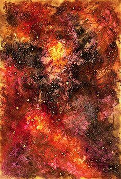 """opera astratta, titolo """"Frammenti cosmici"""" sabbia, sassi, colori acrilici"""