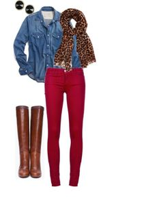 Denim shirt, scarf, colored jeans, and riding boots.