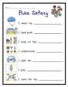 bike safety for kids printables. Bike Safety For Kids Worksheets Images & Pictures Becuo. bike safety for kids printables Summer Safety, Safety Week, Safety Rules, Fire Safety, Safety Road, Teaching Safety, Science Safety, Safety Crafts, Bicycle Safety