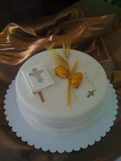 First communion cake maybe replace the wheat with something else