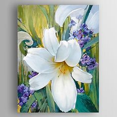 Cow Canvas, Hand Painted Canvas, Lilly Flower, Flower Art, Sunflower Wallpaper, Acrylic Painting Lessons, Garden Painting, Online Painting, Abstract Flowers
