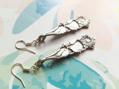 Hanging silver plated spoon earrings with flowers sterling