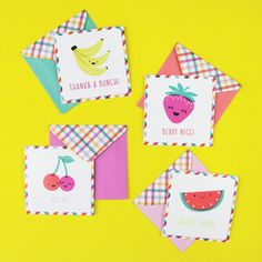 Make thank you's fruity and flavorful! Kids Stationery, Cute School Supplies, Happy Mail, Diy Crafts For Kids, Thank You Cards, Berries, Banner, Doc Mcstuffins, Scrapbook