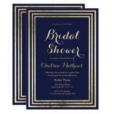 Navy blue faux gold elegant modern Bridal Shower Card - shower gifts diy customize creative