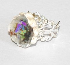 Porcelain Dichroic Glass Ring by AimerLeTerreJewelry on Etsy, $16.00