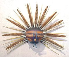 Kachina Gourd Mask with Pheasant Feathers by Robert Rivera