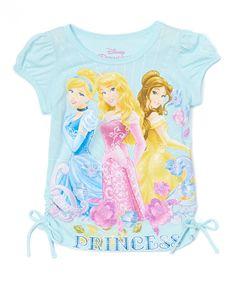 Love this Aqua Disney Princess Puff-Sleeve Tee - Girls by Disney Princess on #zulily! #zulilyfinds
