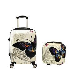 World Traveler 2 Piece Hardside Upright Spinner Luggage Set, Butterfly, One Size
