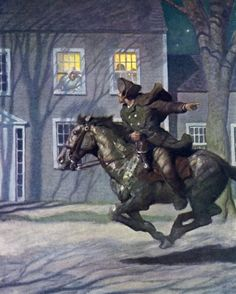 Paul Revere's Ride 1922 by Newell Convers Wyeth, American illustrator. Jamie Wyeth, Andrew Wyeth, Nocturne, Ancient History, Art History, Paul Revere's Ride, Nc Wyeth, Illustrator, Into The West