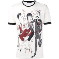 Dolce & Gabbana illustrated cafe print T-shirt ($415) ❤ liked on Polyvore featuring men's fashion, men's clothing, men's shirts, men's t-shirts, black, dolce gabbana mens t shirts, dolce gabbana mens shirts, mens patterned t shirts, mens cotton shirts and mens leopard print t shirt