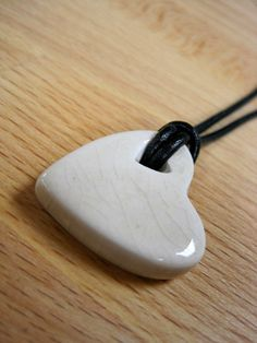 Crackle Heart of White Necklace by ColorMeClayful on Etsy, $14.00