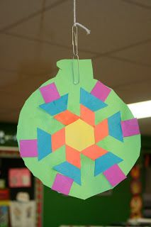 For third grade I would have the kids design their ornament with shapes we'd studied and then write what fraction of the design was each shape on the back.  For example in the picture shown 6/19 of the shapes are squares.