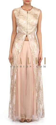 Buy Online from the link below. We ship worldwide (Free Shipping over US$100). Product SKU - 305725.Product Link - http://www.kalkifashion.com/cream-suit-adorn-in-sequin-embroidery-only-on-kalki-18435.html