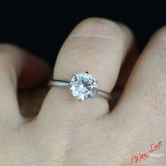 White Sapphire Solitaire Engagement Ring Round 6 by WanLoveDesigns