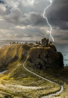 """""""Dunnator Castle, Scotland -- I keep encountering this castle in books, on television and in movies.  I'm currently reading a book in which it has been mentioned several times.  I just now, serendipitously, came across it on Pinterest.  It's starting to feel like a recurring dream. . ."""" ~~ Blissful Sojourn"""