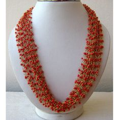 Short Coral Multi Strand Necklace from Enhara/Red by Enhara