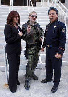 """Galacticat as Kara """"Starbuck"""" Thrace with President Roslin and Admiral Adama at Dragon*Con 2012"""