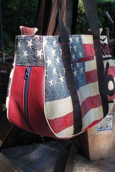 Schultertaschen - Schnabelina Bag USA - ein Designerstück von --Fadenlauf-- bei DaWanda