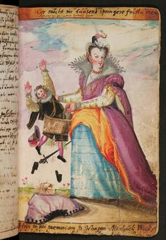 """suitor falls through basket -- """"durch den Korb fallen"""" -- German idiom meaning to be jilted. This is image 677 of the Johannes Weckherlin album amicorum (entries dated 1593-1608) via WLB Stuttgart website. -- for macaronic caption, see """"Comment"""""""