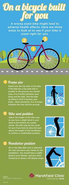 #Biking is a great form of exercise. Learn how to properly size your ride. Bike sizing infrographic. Shine365 Marshfield Clinic