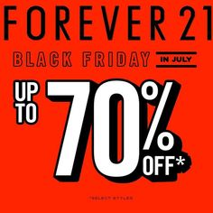 Black Friday in July! Select items from #Forever21 up to 70% off today, no coupon code necessary! Shop these deals and more on Miner. Download now if you haven't already- the link is in our Bio.