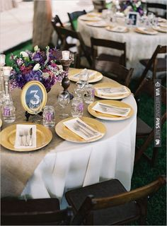 burlap runners and gold chargers | CHECK OUT MORE IDEAS AT WEDDINGPINS.NET | #wedding