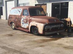 56 Ford Truck, Old School Chopper, Rust Belt, Panel Truck, Model Car, Cherry Red, Antique Cars, Classic Cars, Vans