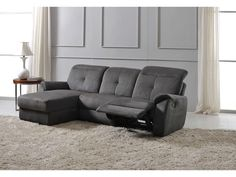 Canapé Angle méri nne droit 1 relax WILLY PU Microfibre Gris clair