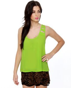 910dd3a55ea69a  lovelulus Laterally Speaking Lime Green Tank Top Green Tank Top