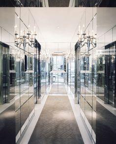A mirrored hallway