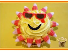 A sunny cupcake! Complete with sunglasses! Visit Omg! Cupcakes athttps://www.facebook.com/OmgCupcakesGP.