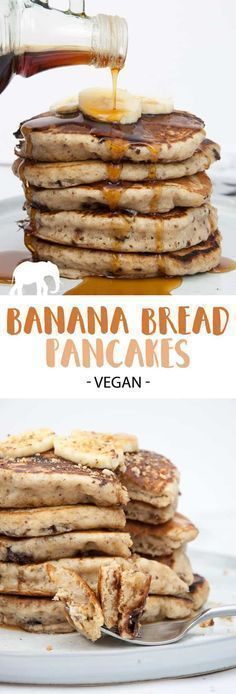 Vegan Banana Bread Pancakes with Chocolate Chunks Recipe + Video Looking for a dairy-free and egg-free pancake recipe? Then you'll love these easy-to-make vegan Banana Bread Pancakes with Chocolate Chunks! Vegan Foods, Vegan Dishes, Pancakes Végétaliens, Vegan Banana Pancakes, Breakfast Pancakes, Chocolate Pancakes, Fluffy Pancakes, Vegan Healthy Pancakes, Dairy Free Pancakes