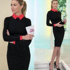 OL Style POLO Collar Long Sleeve Slim Fit Dress