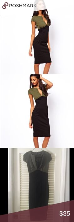 ASOS Two Tone Midi Pencil Dress Sexy and classy, two tone, low cut midi pencil dress from ASOS.  Only worn once! Perfect for engagement parties or fancy dinners. Asos Dresses Midi