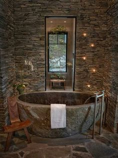 Natural Stone Bathtub Ideas for Your Bathroom is part of Rustic bathroom designs Ceramic tiles are offered in a wide range of colors They are a popular choice when it comes to bathroom flooring - Rustic Bathroom Designs, Rustic Bathrooms, Dream Bathrooms, Modern Bathrooms, Rustic Bathtubs, Small Bathrooms, Beautiful Bathrooms, Stone Bathtub, Natural Stone Bathroom